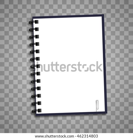 Isolated open notebook paper on a transparent background with a clip. Vector illustration