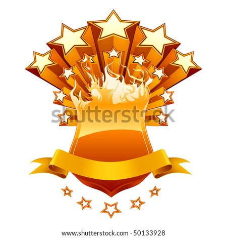 Isolated orange emblem, vector