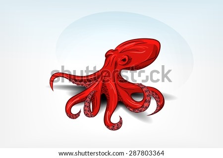 Isolated orange octopus with shadow. Hand drawn original close up vector illustration or icon. Template for poster, print, tattoo, logo or symbol. - stock vector