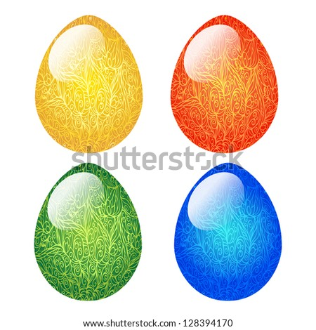 Isolated ornamental colored Easter eggs-vector