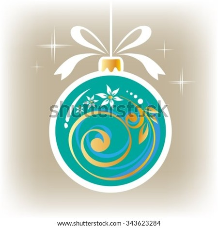 Isolated ornate blue Christmas ball on a gray background. - stock vector