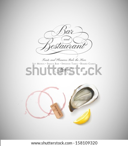 Isolated oyster, wine cork and lemon with calligraphic header - stock vector
