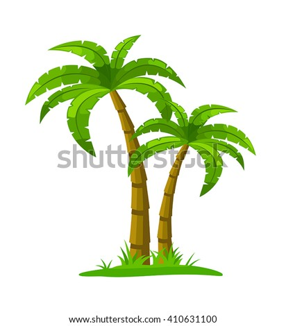 Isolated palm tree - can be used to illustrate topics like tourism, traveling, beach holidays, nature. - stock vector