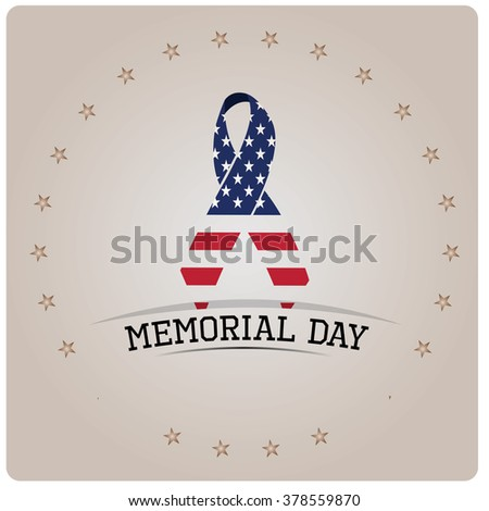 Isolated peace symbol with the american flag and text for memorial day - stock vector