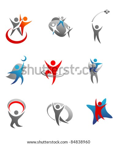 Isolated people signs and symbols for design. Rasterized version also available in gallery - stock vector