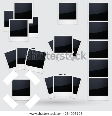 Isolated Photo Frames on White Background - stock vector