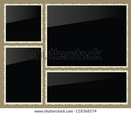 Isolated photo frames, vector illustration, set - stock vector