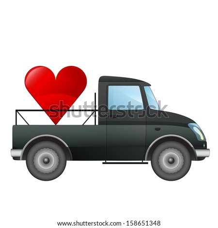 isolated pick up car love transport concept vector drawing illustration