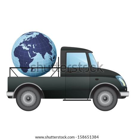 isolated pick up car transportation in african countries vector drawing illustration - stock vector