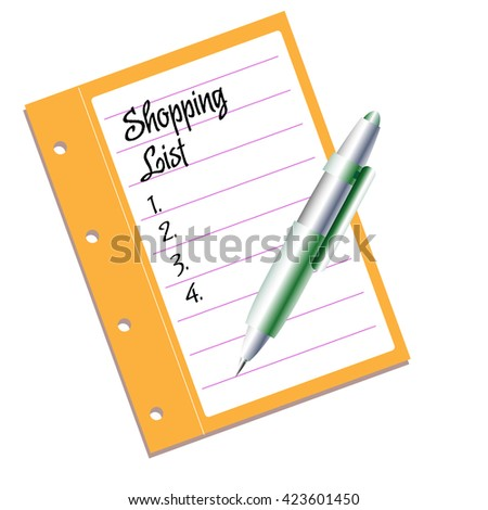 Isolated piece of paper with the text shopping list written with handwritten letters - stock vector