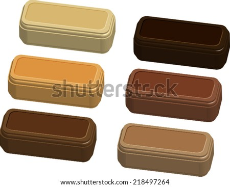 Isolated pieces of chocolate (dark, milk, caramel, bitter, white) - Vector - stock vector