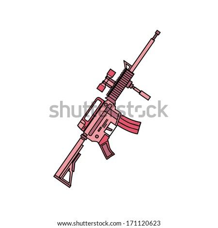 isolated pink military rifle, vector illustration