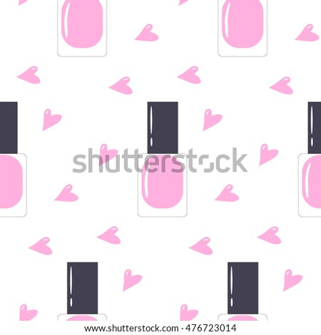 Isolated Pink Nail Polish . Vector flat illustration. Seamless pattern for print.
