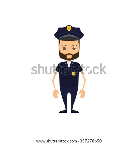 Isolated police officer on a white background
