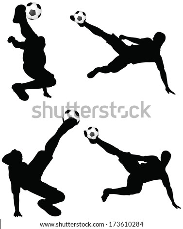 isolated poses of soccer players silhouettes in air position