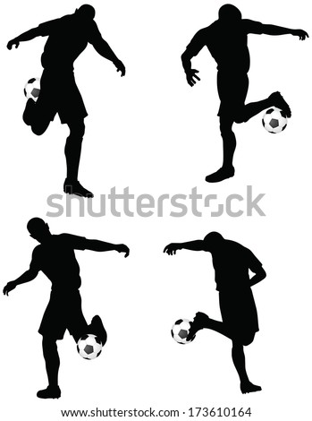 isolated poses of soccer players silhouettes in dribble position
