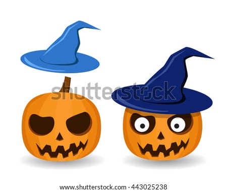 Isolated Pumpkins and witch hat on white, vector - stock vector
