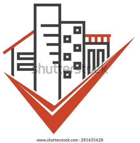 Isolated real estate emblem with various types of buildings - stock vector