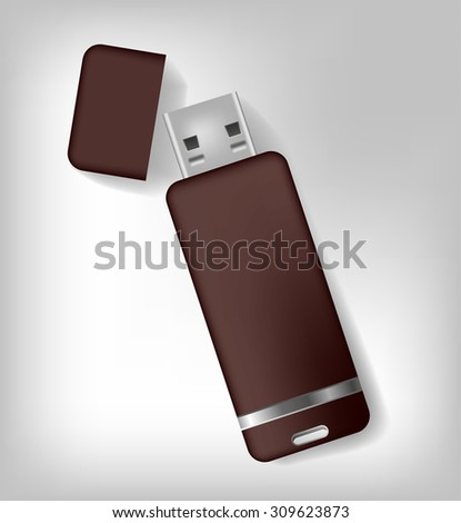 Isolated realistic brown usb memory sticks mock up. Vector illustration