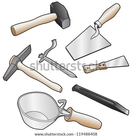 isolated realistic illustration of masons tool - stock vector