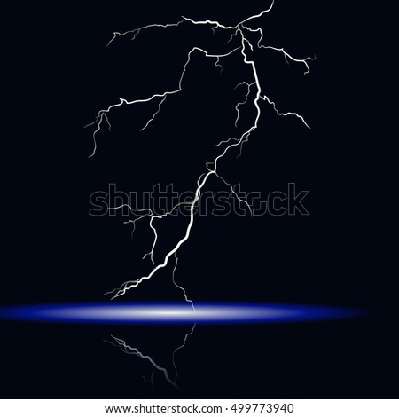 Isolated realistic lightning with a mirror image. Vector eps10.