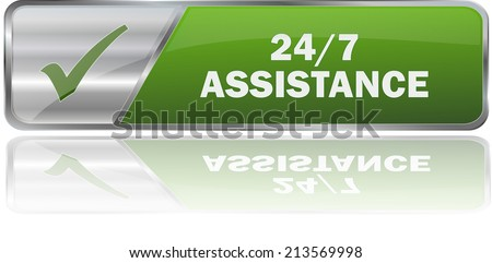 isolated realistic modern green 3D vector eps10 24/7 assistance label sign - stock vector
