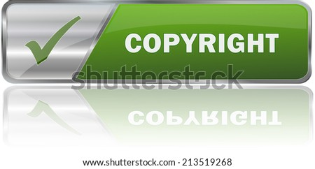 isolated realistic modern green 3D vector eps10 copyright label sign - stock vector