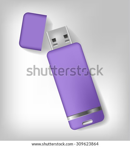 Isolated realistic purple usb memory sticks mock up. Vector illustration - stock vector