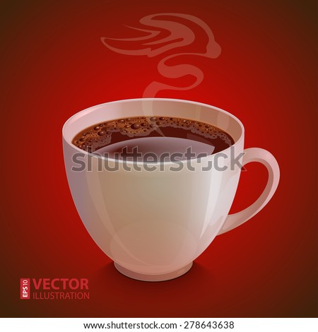 Isolated realistic white coffe cup with vapor on dark red background. RGB EPS 10 vector illustration - stock vector