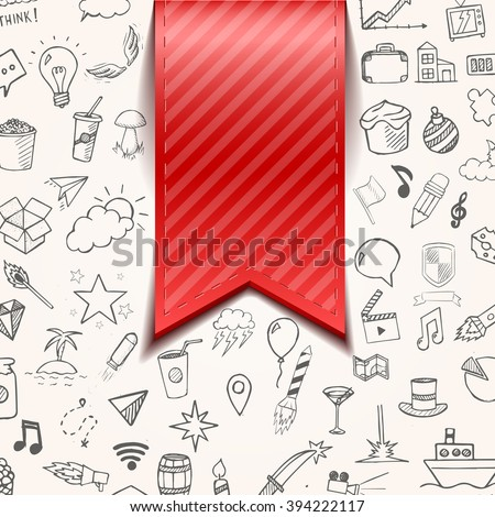 Isolated red bookmarkon background with doodle objects, vector illustration