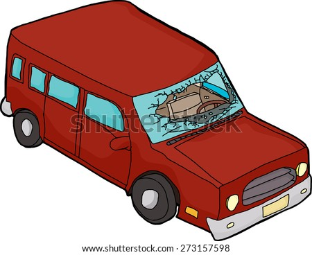 Isolated red cartoon car with broken windshield