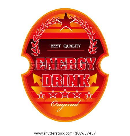 Isolated red energy drink label with red stars and various decorative elements