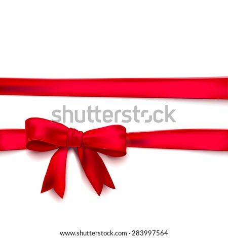 Isolated red silk ribbon and bow. Vector illustration - stock vector
