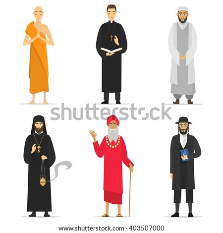 Isolated religion ministers monks priest greeting stock vector monks and priest greeting buddhist catholic muslim m4hsunfo Gallery