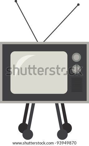 Isolated retro television on rollers - stock vector