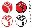 Isolated rose icons - vector illustration - stock vector