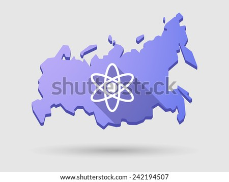 Isolated Russia map long shadow icon with an atom