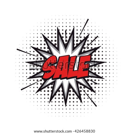 Isolated sale comic expression on a white textured background
