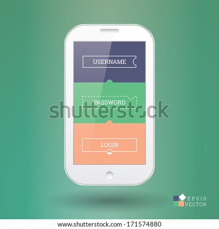 Isolated scalable realistic EPS10 vector illustration of a smart phone with flat login design element  - stock vector