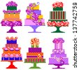 Isolated Set of Holiday Cakes, Vector Version - stock