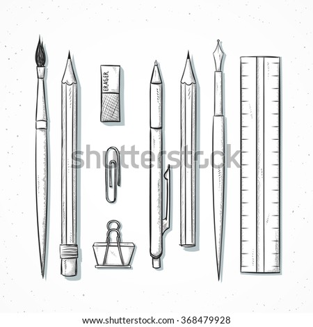 Isolated set of stationery handmade in sketch style. Sketch of writing items. Stationery set , pen , ruler, pencil, brush, trowel, clip , line in sketch style.  Retro design. Vintage style - stock vector