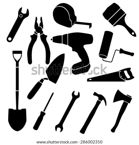 isolated set of tools silhouettes hammer pliers screwdriver and other - stock vector