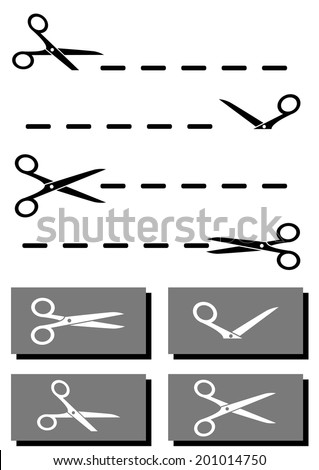 isolated set scissors, coupon and dotted line collection - stock vector