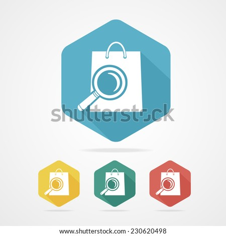 Isolated shopping bag with a magnifier. E-commerce concept icon Vector - stock vector