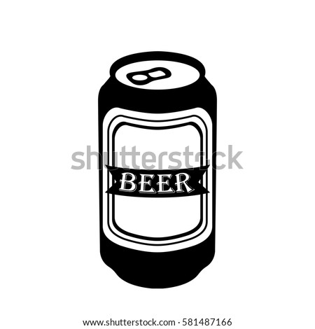 isolated silhouette beer can vector illustration stock vector rh shutterstock com free beer can clip art 6 Pack Beer Clip Art