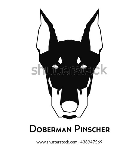 isolated silhouette of a doberman pinscher on a white background