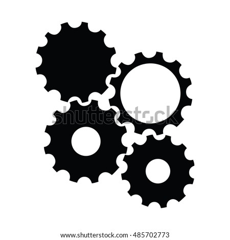 Isolated silhouette of a group of gear pieces, Vector illustration
