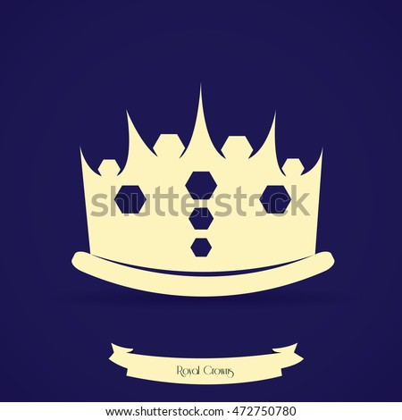 Isolated silhouette of a royal crown, Vector illustration