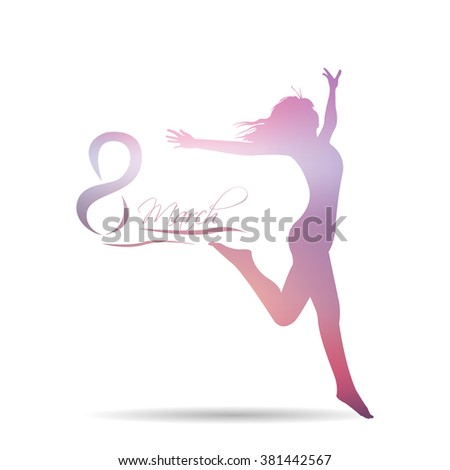 Isolated silhouette of a woman and text for women's day