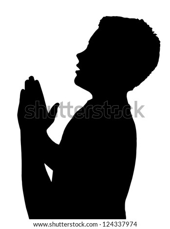Isolated Silhouetted Boy Child Gesture and Activity Praying - stock vector
